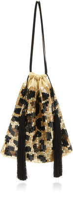 ATTICO Full Sequins Leopard Pouch Bag