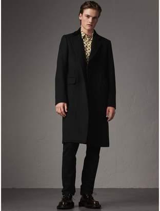 Burberry Velvet Collar Wool Cashmere Blend Riding Coat