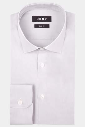 DKNY Slim Fit Grey Single Cuff Stretch Shirt