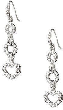 Carolee Pave Heart Drop Earrings