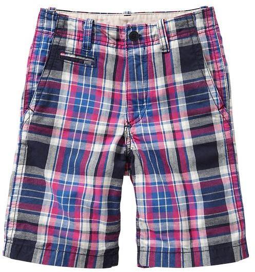 Gap Plaid flat-front shorts.