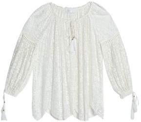 Zimmermann Gathered Embroidered Silk-Chiffon Blouse