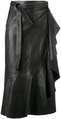Helmut Lang wraparound leather skirt