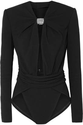Saint Laurent Embellished Cutout Stretch-crepe Bodysuit - Black