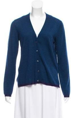 Prada Striped Silk-Wool Cardigan