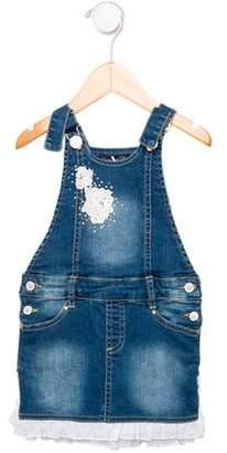 Miss Blumarine Girls' Denim Overall Dress w/ Tags