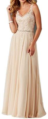 MILANO BRIDE Inexpensive Bridesmaid Dress Prom Maxi Dress V-neck A-line Applique