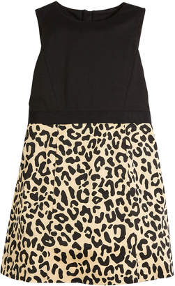 Milly Minis Panel Cheetah-Skirt Dress, Size 4-7
