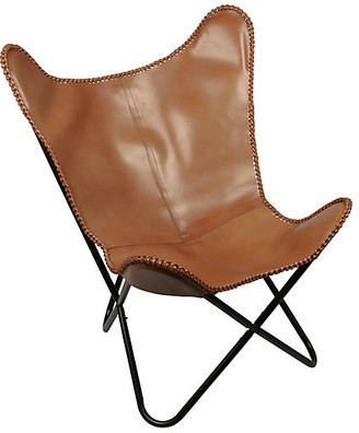 One Kings Lane Amorica Butterfly Chair - Tan Leather
