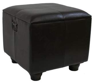 International Caravan Istanbul Faux Leather Square Storage Ottoman with Ball Feet