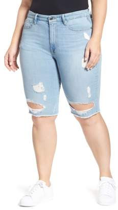 Good American Destroyed Denim Bermuda Shorts