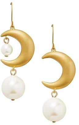 Tory Burch Celestial Moon & Simulated Pearl Drop Earrings