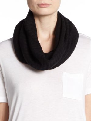 Ribbed Knit Cashmere Infinity Scarf