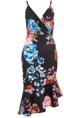 Quiz Black Wrap Asymmetrical Front Midi Dress