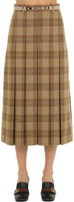 Gucci Pleated Wool Check Skirt