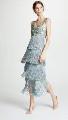 Marchesa Tiered V Neck Gown