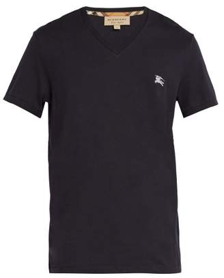 Burberry Logo Embroidered V Neck Cotton T Shirt - Mens - Navy