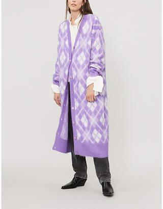 Miu Miu Argyle-pattern mohair-blend cardigan