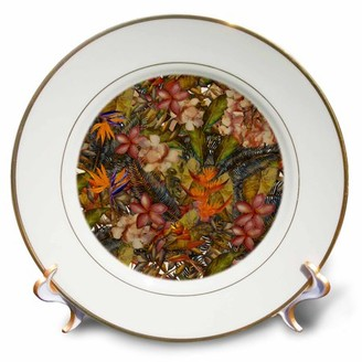 3dRose Aloha Copper Hibiscus Flower Jungle Tropical Floral Hawaii Pattern - Porcelain Plate, 8-inch