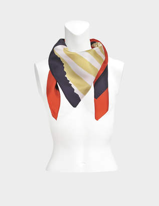 Sonia Rykiel 175X175 Stripes Square Scarf in Terre Battue Twill Silk