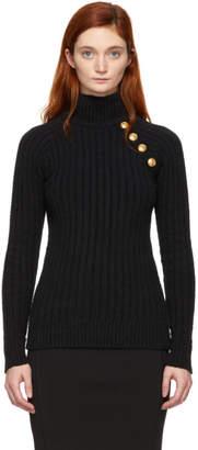Balmain Black Knit Turtleneck