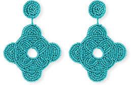 Kenneth Jay Lane Beaded Geometric Drop Earrings, Turquoise