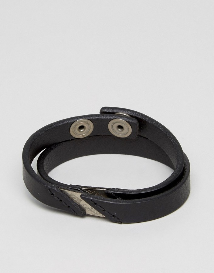 DieselDiesel A-Lineup Leather Wrap Bracelet In Black