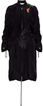 3.1 Phillip Lim Paneled Ruched Printed Silk-Satin Jacket