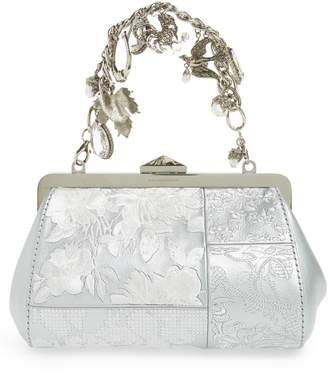 Silver Bird Patchwork Frame Clutch