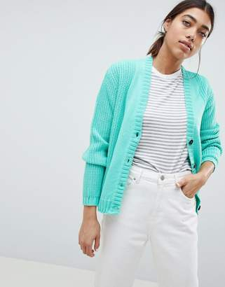 Asos DESIGN chunky knit cardigan with buttons