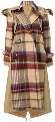 Sacai oversized checked coat