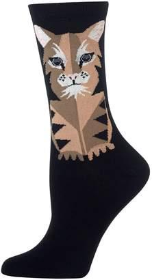 Hot Sox Women's Big Cat Crew Socks