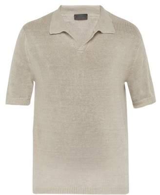Iris von Arnim Filip Linen Knit Polo Shirt - Mens - Beige