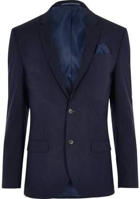 Mens Dark Blue stretch slim fit suit jacket