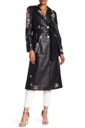 BCBGMAXAZRIA Alix Faux Leather Floral Embroidered Trench Coat