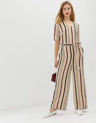Selected stripe jumpsuit with wide leg