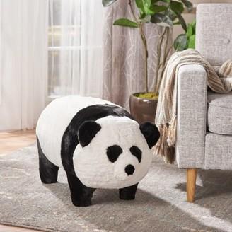 Coleman Noble House Kids Faux Fur Panda Ottoman, White, Black