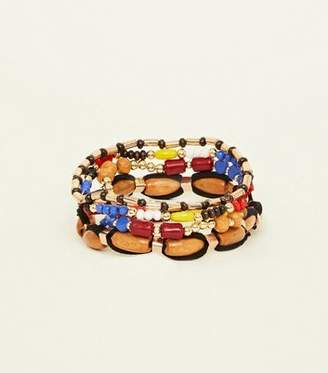 New Look Multi Colour Wooden Stretch Bracelet
