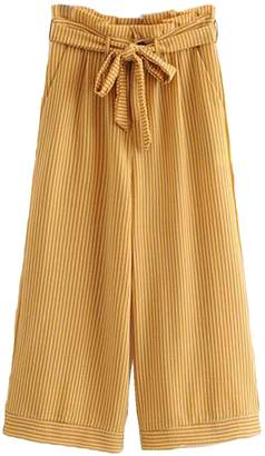 Goodnight Macaroon 'Rosy' Yellow Striped Belted Straight Pants