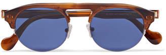 Moncler Round-Frame Tortoiseshell Acetate Sunglasses