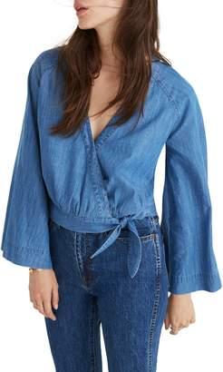 Madewell Denim Bell Sleeve Wrap Top