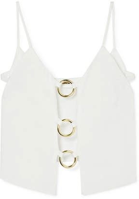 Cult Gaia Odette Cutout Embellished Linen Top - White