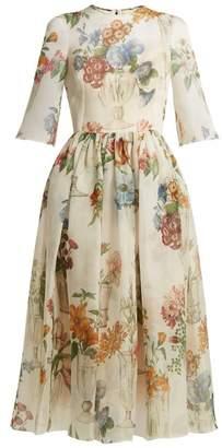 Dolce & Gabbana Floral Print Silk Organza Dress - Womens - White Multi