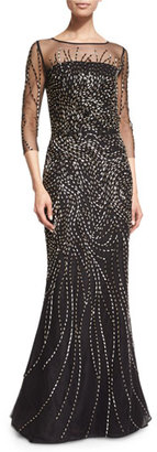 St. John Collection Beaded 3/4-Sleeve Tulle Gown, Caviar $3,995 thestylecure.com