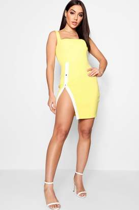 boohoo Liz Popper High Split Bodycon Dress