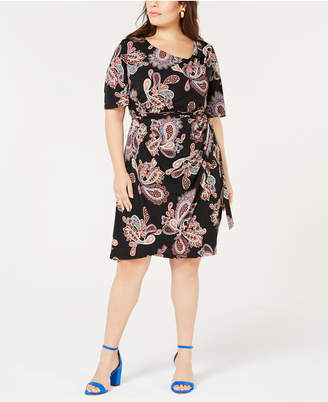 f830d30b69f ... Robbie Bee Plus Size Printed Draped Faux-Wrap Dress