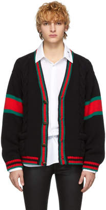 Gucci Black Cable Knit Oversize Cardigan