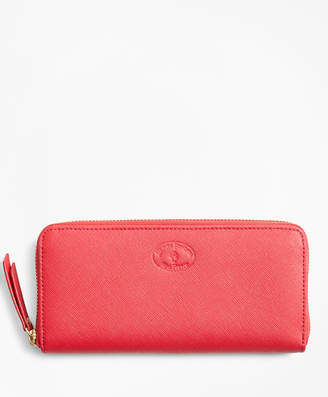 Brooks Brothers Saffiano Leather Zip-Around Wallet