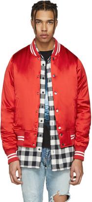 Amiri Red Satin Baseball Bomber Jacket $1,850 thestylecure.com