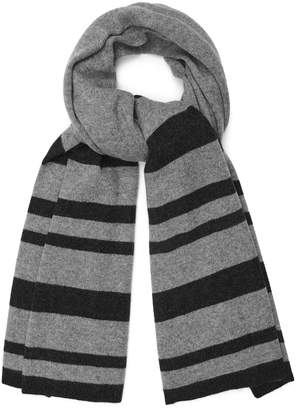 Reiss Our last order date for Christmas has now passed ELVIN CASHMERE OVERSIZED STRIPED SCARF Charcoal Grey
